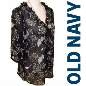 Old navy sheer floral top size L black and white